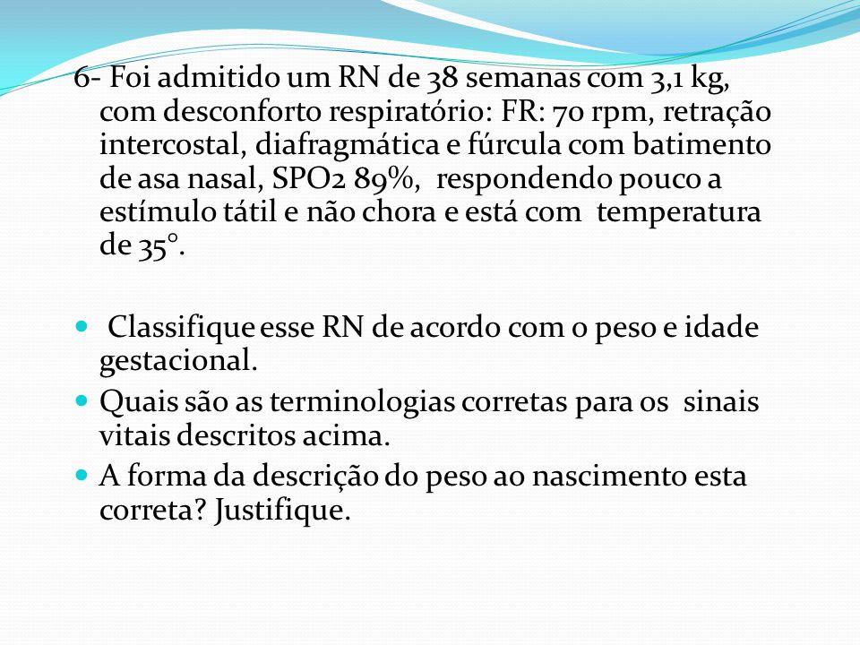 6- Foi admitido um RN de 38 semanas com 3,1 kg, com desconforto respiratório: FR: 70 rpm, retração intercostal, diafragmática e fúrcula com batimento