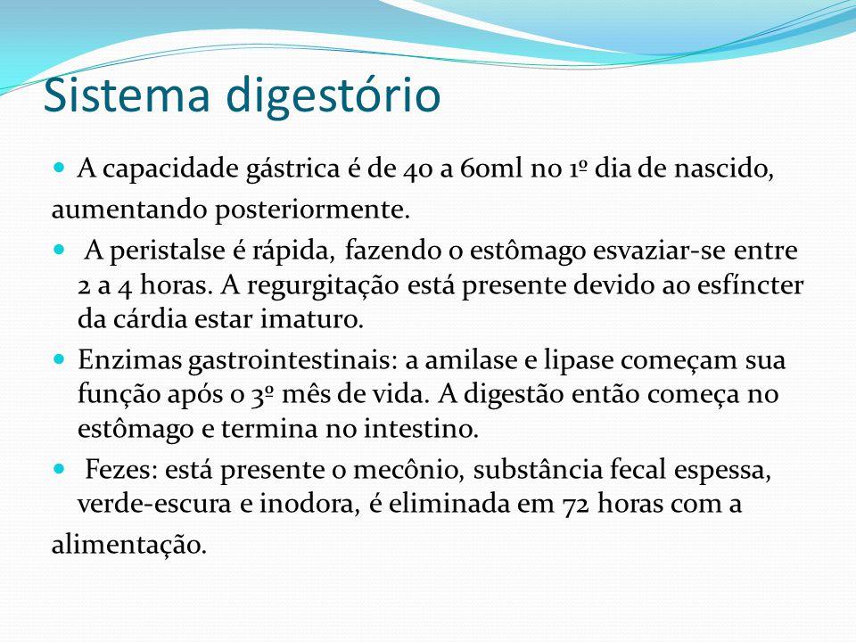 Sistema digestório  A capacidade gástrica é de 40 a 60ml no 1º dia de nascido, aumentando posteriormente.  A peristalse é rápida, fazendo o estômago
