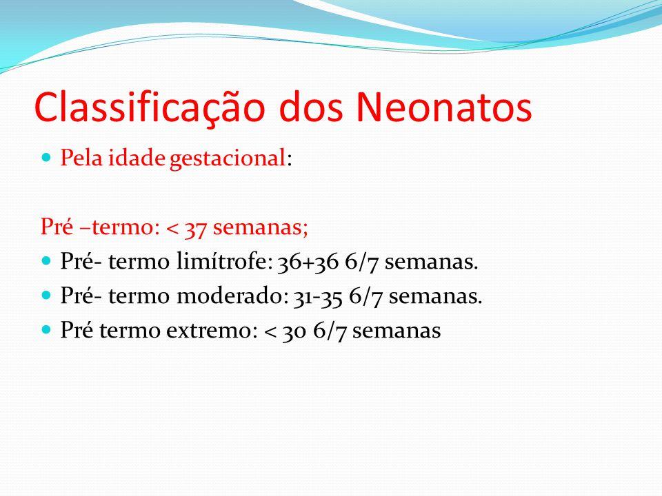 Classificação dos Neonatos  Pela idade gestacional: Pré –termo: < 37 semanas;  Pré- termo limítrofe: 36+36 6/7 semanas.  Pré- termo moderado: 31-35