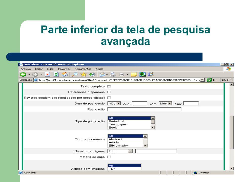 Parte inferior da tela de pesquisa avançada