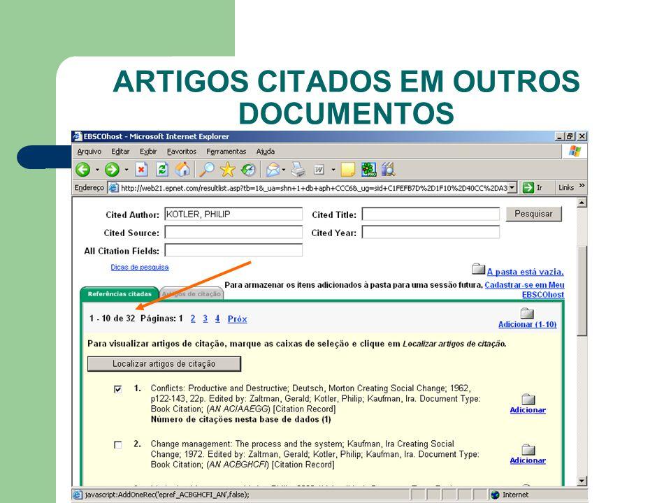 ARTIGOS CITADOS EM OUTROS DOCUMENTOS