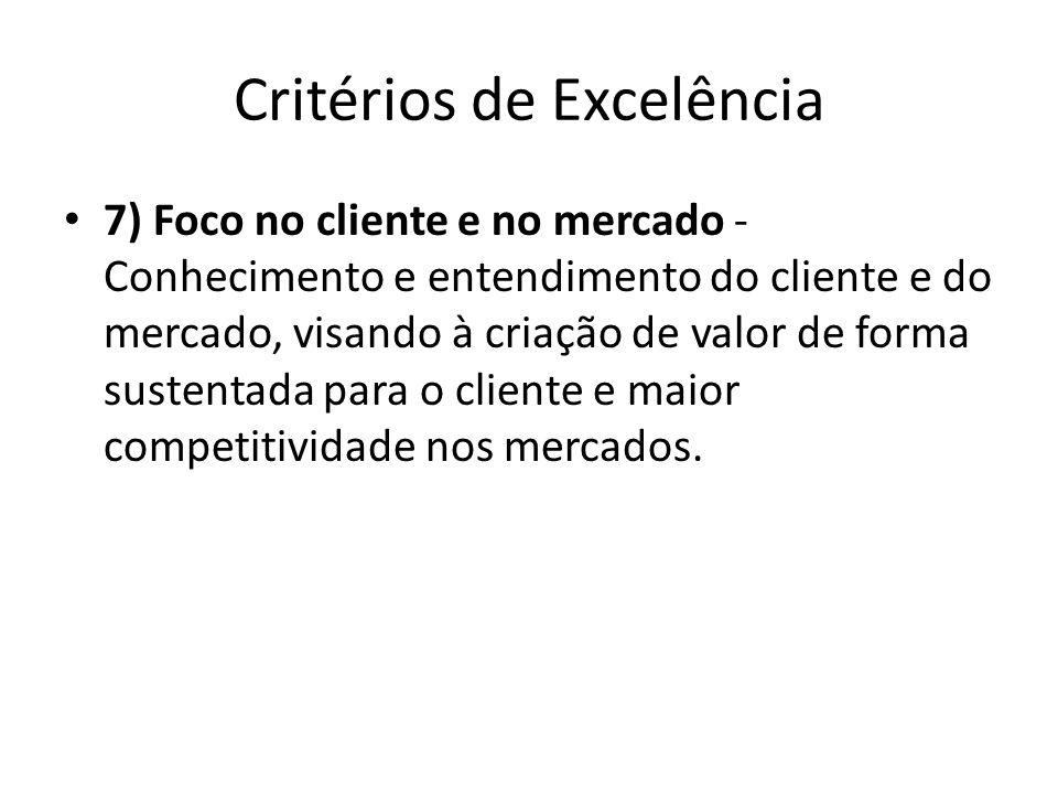 Critérios de Excelência • 7) Foco no cliente e no mercado - Conhecimento e entendimento do cliente e do mercado, visando à criação de valor de forma s