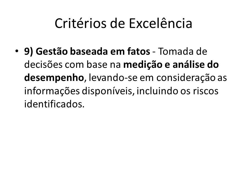 Critérios de Excelência • 9) Gestão baseada em fatos - Tomada de decisões com base na medição e análise do desempenho, levando-se em consideração as i