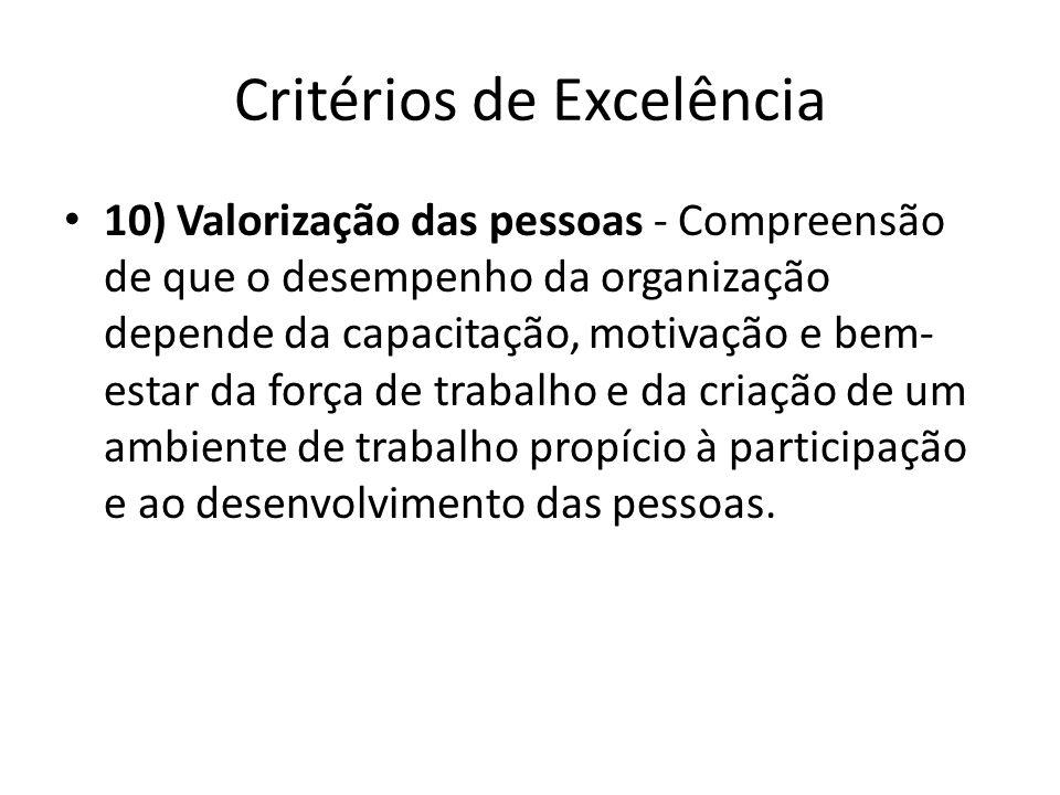 Critérios de Excelência • 10) Valorização das pessoas - Compreensão de que o desempenho da organização depende da capacitação, motivação e bem- estar
