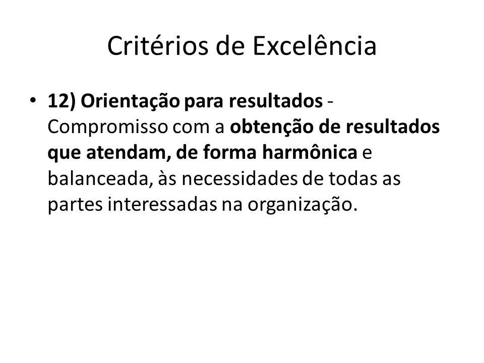 Critérios de Excelência • 12) Orientação para resultados - Compromisso com a obtenção de resultados que atendam, de forma harmônica e balanceada, às n