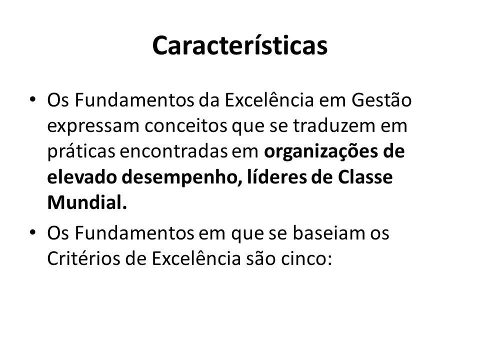 Características • Os Fundamentos da Excelência em Gestão expressam conceitos que se traduzem em práticas encontradas em organizações de elevado desemp