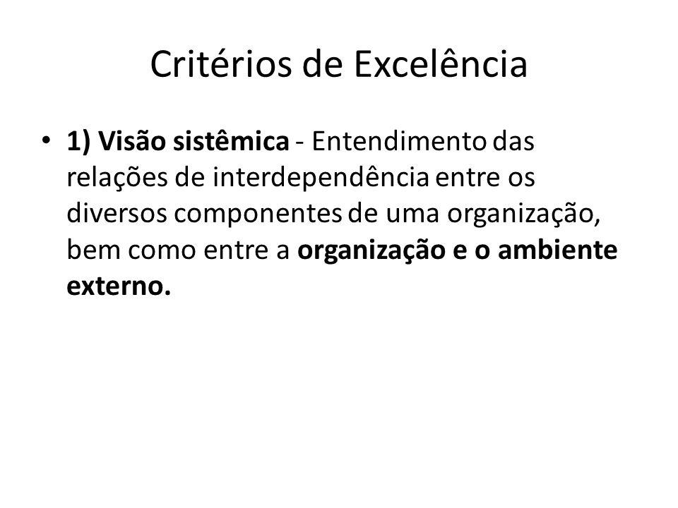 Critérios de Excelência • 1) Visão sistêmica - Entendimento das relações de interdependência entre os diversos componentes de uma organização, bem com