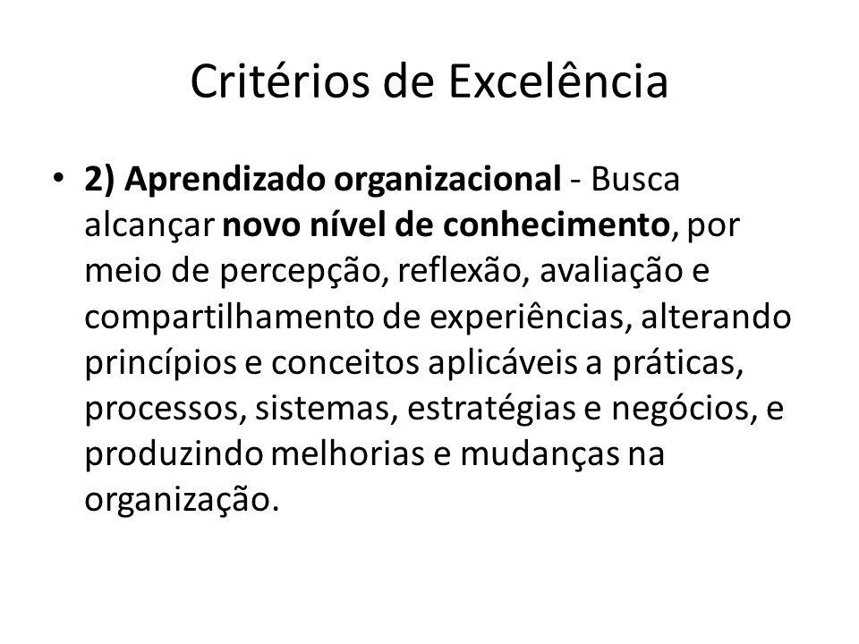 Critérios de Excelência • 2) Aprendizado organizacional - Busca alcançar novo nível de conhecimento, por meio de percepção, reflexão, avaliação e comp