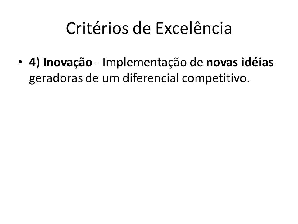 Critérios de Excelência • 4) Inovação - Implementação de novas idéias geradoras de um diferencial competitivo.
