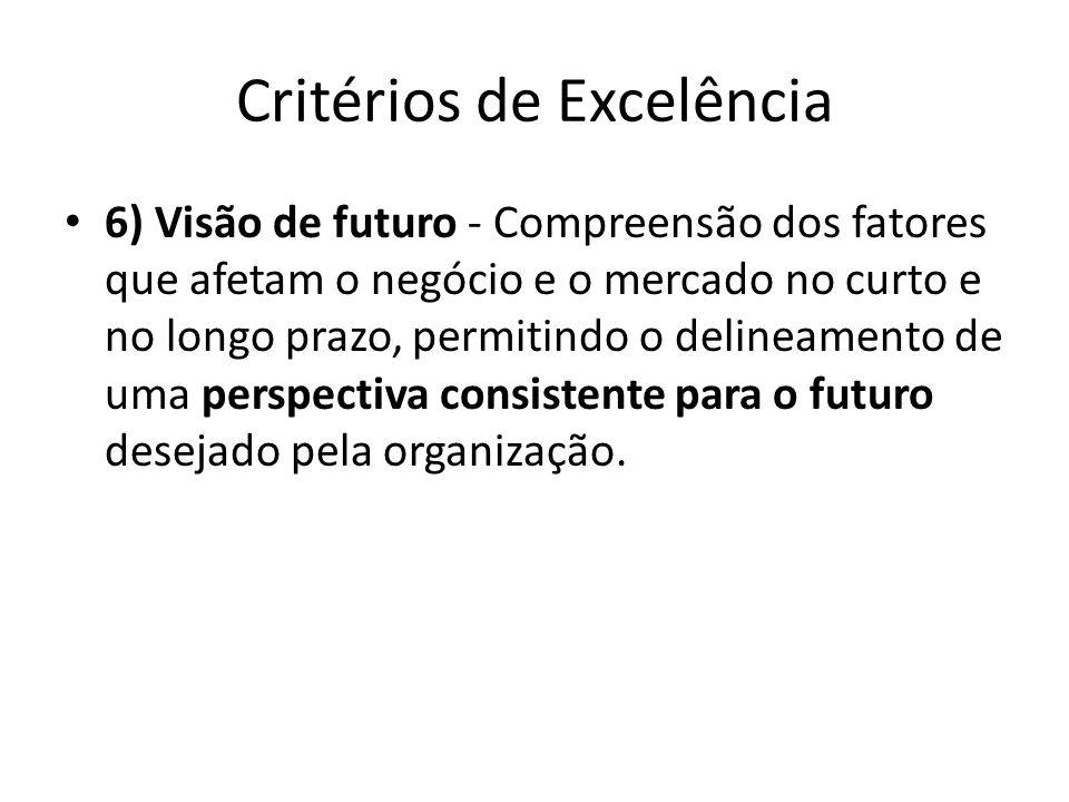 Critérios de Excelência • 6) Visão de futuro - Compreensão dos fatores que afetam o negócio e o mercado no curto e no longo prazo, permitindo o deline