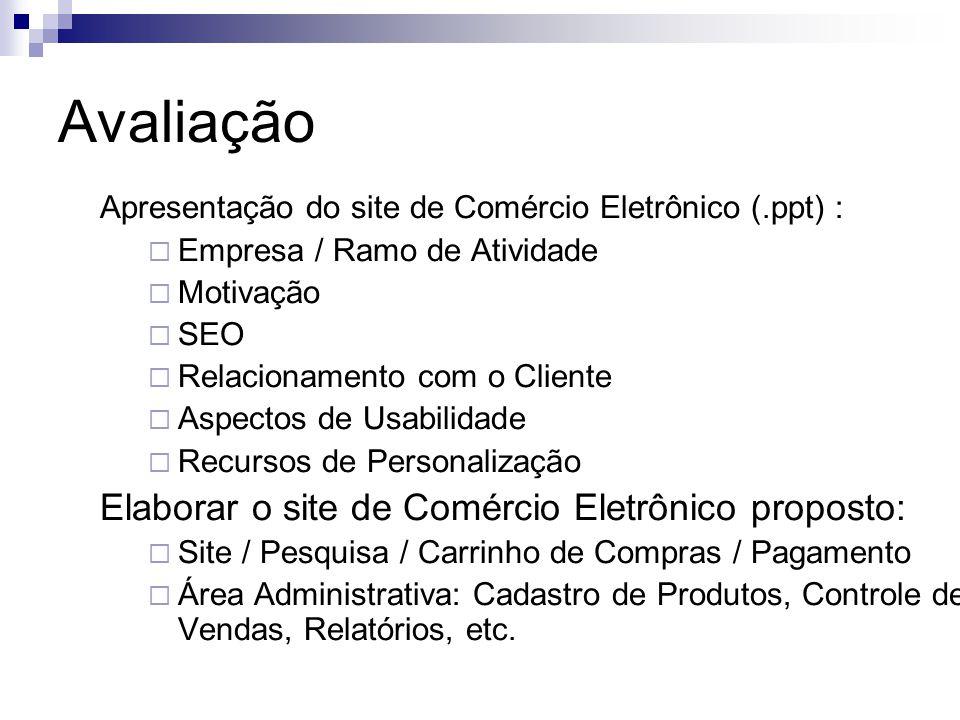 Avaliação Apresentação do site de Comércio Eletrônico (.ppt) :  Empresa / Ramo de Atividade  Motivação  SEO  Relacionamento com o Cliente  Aspect