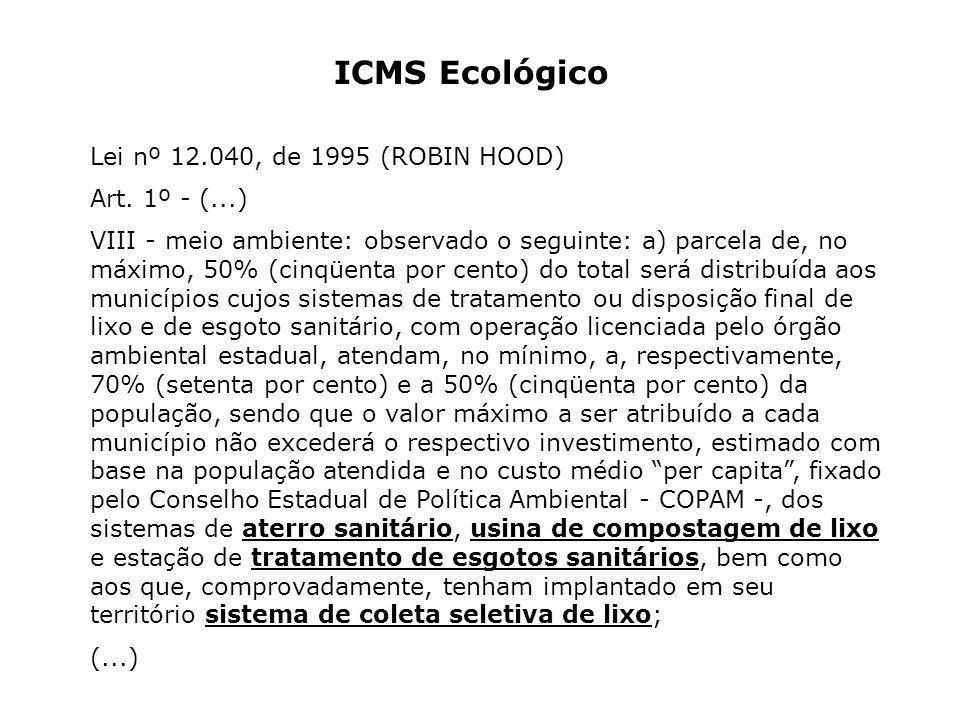 ICMS Ecológico Lei nº 12.040, de 1995 (ROBIN HOOD) Art. 1º - (...) VIII - meio ambiente: observado o seguinte: a) parcela de, no máximo, 50% (cinqüent