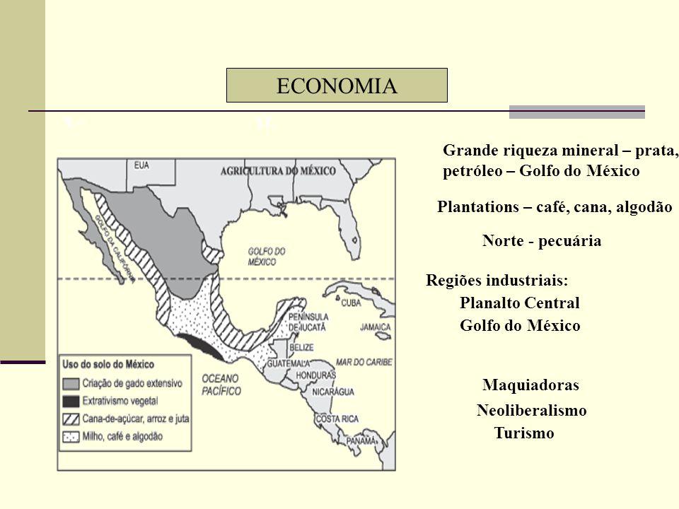 CARACTERÍSTICAS GERAIS DO MÉXICO Cortado pelo Trópico de Câncer Zonas tropical e temperada Relevo alto Círculo de Fogo do Pacífico 3ª maior população