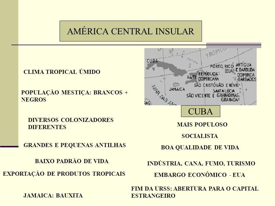 AMÉRICA CENTRAL CONTINENTAL Círculo de Fogo do Pacífico Maior país: Nicarágua Maior população: Guatemala Colonização espanhola Indicadores sociais pre