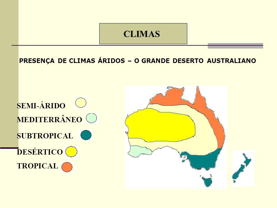 INDUSTRIALIZAÇÃO DIVERSIFICADA - PRINCIPAL REGIÃO: LESTE ALTO PADRÃO DE VIDA: 4º IDH ALPES AUSTRALIANOS GRANDES DESERTOSFLORESTAS TROPICAIS GRANDE RIQ