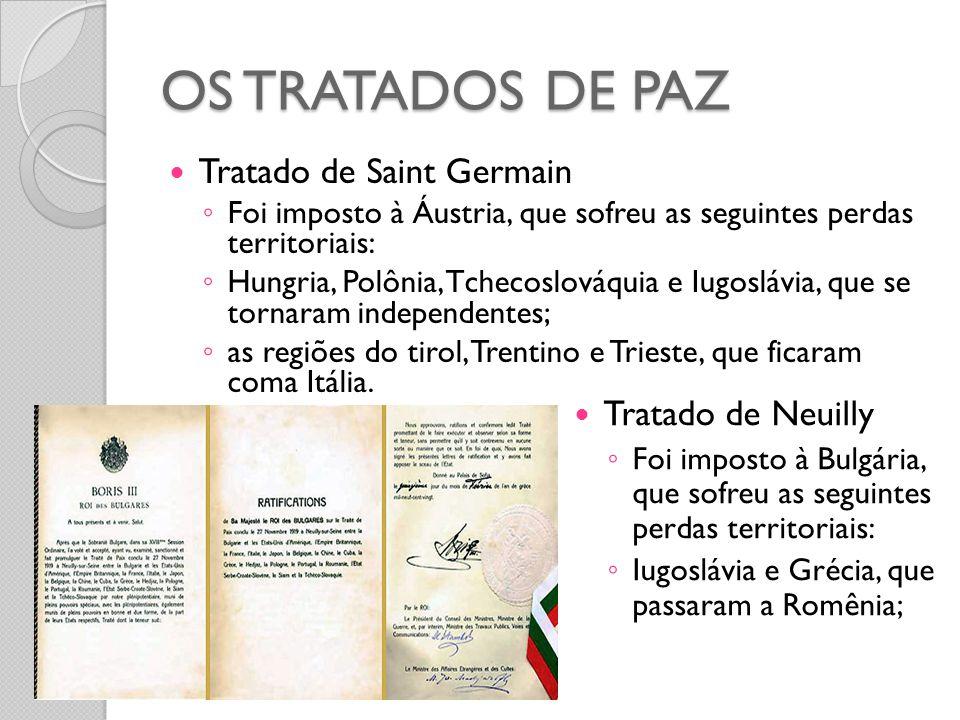 OS TRATADOS DE PAZ  Tratado de Saint Germain ◦ Foi imposto à Áustria, que sofreu as seguintes perdas territoriais: ◦ Hungria, Polônia, Tchecoslováqui