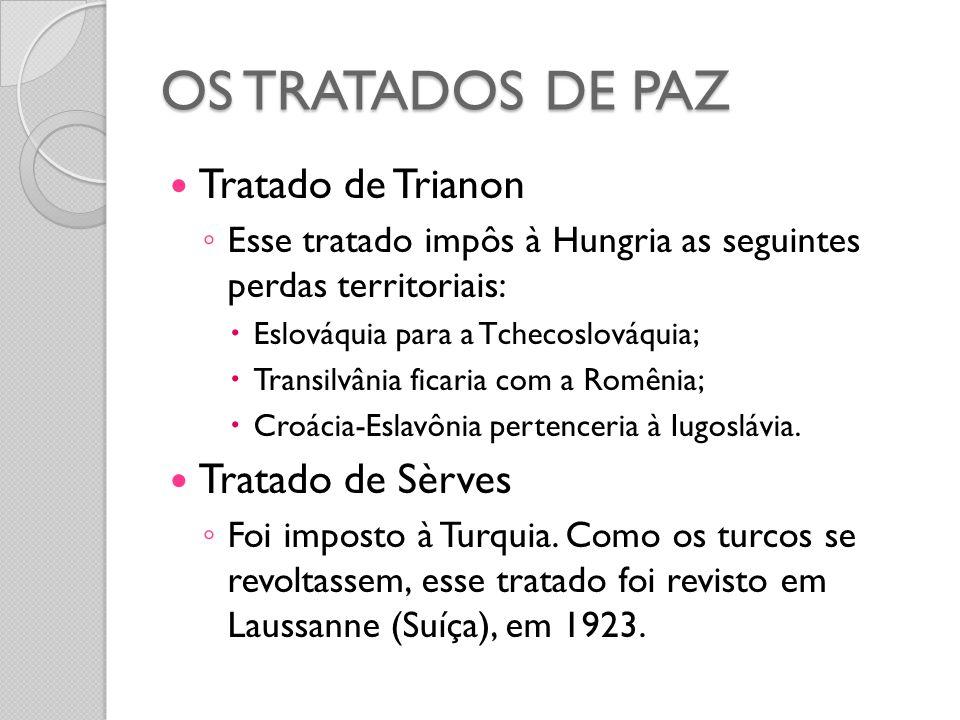  Tratado de Trianon ◦ Esse tratado impôs à Hungria as seguintes perdas territoriais:  Eslováquia para a Tchecoslováquia;  Transilvânia ficaria com