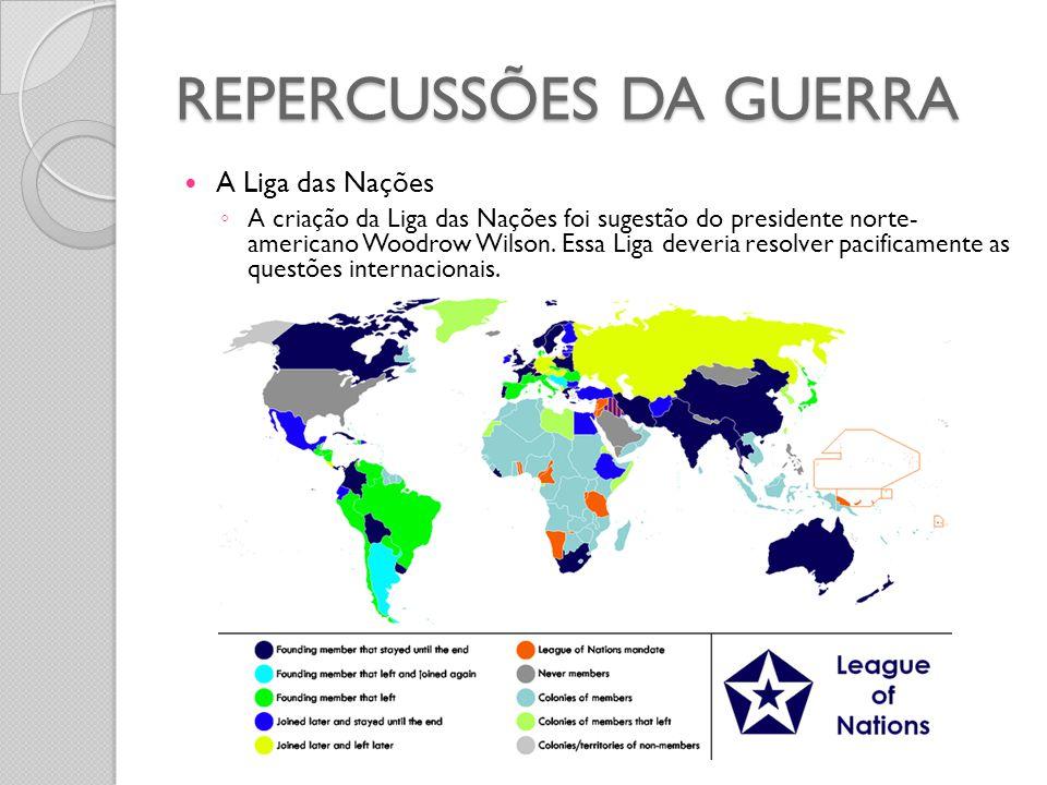  A Liga das Nações ◦ A criação da Liga das Nações foi sugestão do presidente norte- americano Woodrow Wilson. Essa Liga deveria resolver pacificament