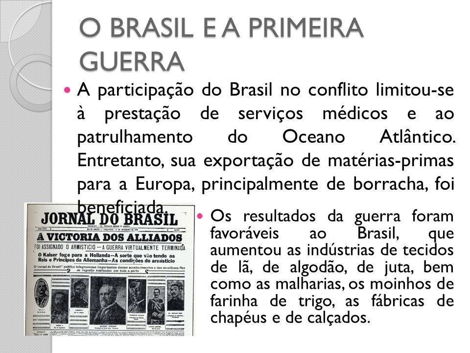 O BRASIL E A PRIMEIRA GUERRA  Os resultados da guerra foram favoráveis ao Brasil, que aumentou as indústrias de tecidos de lã, de algodão, de juta, b