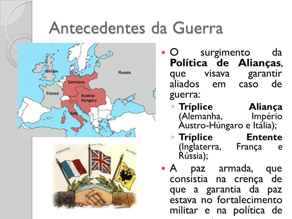 O surgimento da Política de Alianças, que visava garantir aliados em caso de guerra: ◦ Tríplice Aliança (Alemanha, Império Austro-Húngaro e Itália);