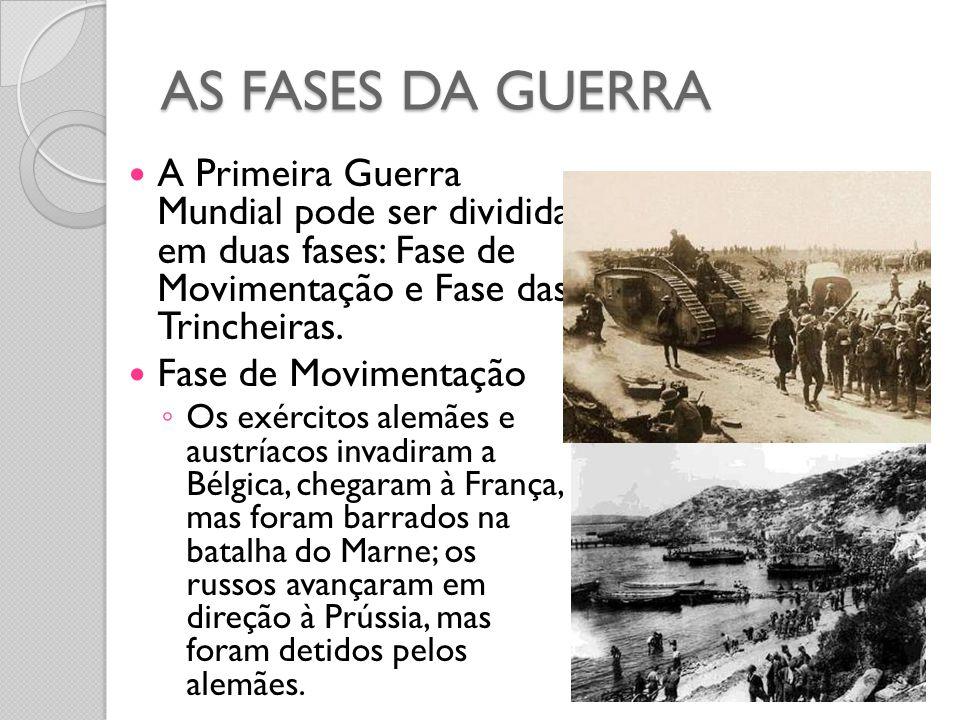 AS FASES DA GUERRA  A Primeira Guerra Mundial pode ser dividida em duas fases: Fase de Movimentação e Fase das Trincheiras.  Fase de Movimentação ◦