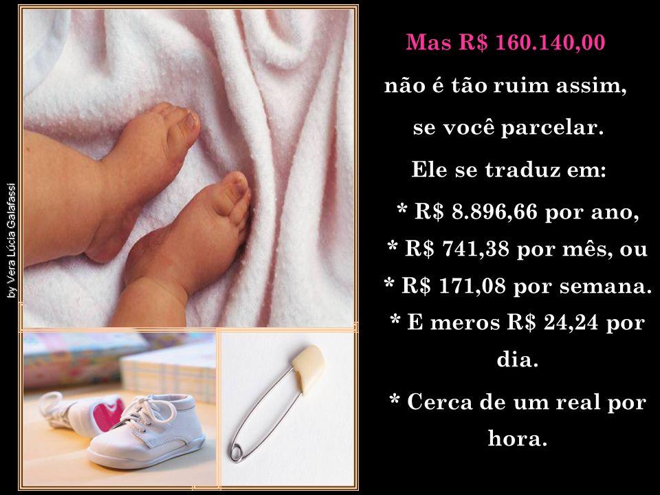 Uma ONG calculou recentemente o custo para se criar um filho, do seu nascimento aos 18 anos, e chegou a R$ 160.140,00 para uma família de classe média