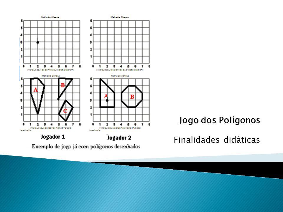 Ao dar uma dica, o aluno buscará e explorará diferentes propriedades como: -Classificação quanto aos número de lados; - Classificação de um triângulo quanto aos ângulos ; - Soma dos ângulo internos; - Ângulos agudos, obtusos e retos; - Lados paralelos e perpendiculares; - Perímetro; - Comprimento dos lados, - Ponto médio; - Área de uma figura - Diagonais; -...