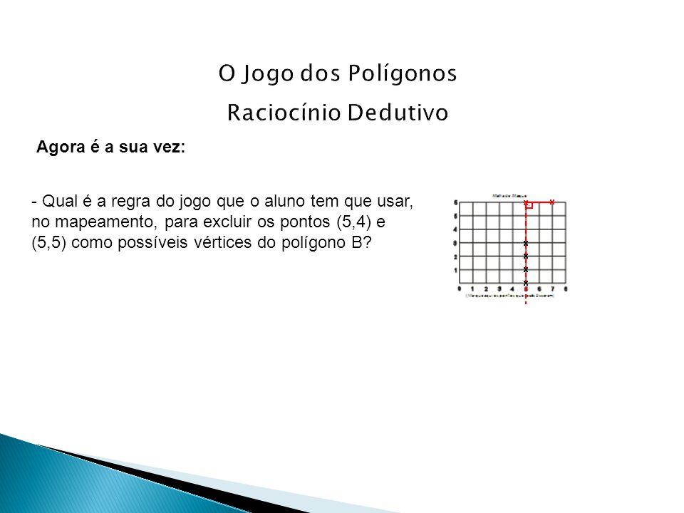Agora é a sua vez: - Qual é a regra do jogo que o aluno tem que usar, no mapeamento, para excluir os pontos (5,4) e (5,5) como possíveis vértices do p