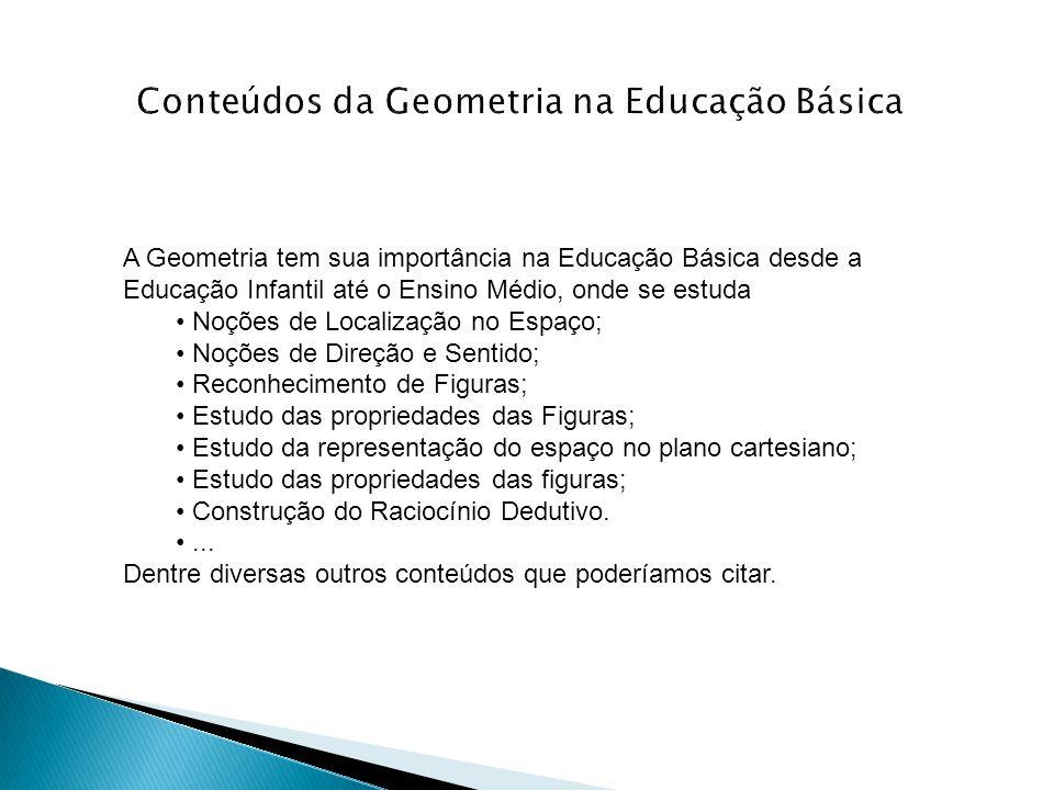 A Geometria tem sua importância na Educação Básica desde a Educação Infantil até o Ensino Médio, onde se estuda • Noções de Localização no Espaço; • N