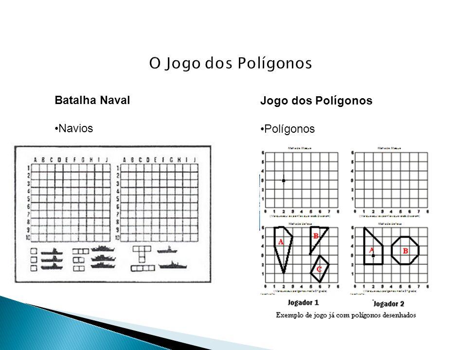 Ao buscar mapear os polígonos do outro jogador, o aluno buscará unir diferentes dicas, propriedades, utilizando diferentes raciocínios: - No caso: em que o Jogador 2 já tem a dica: Acertou um vértice do polígono B no ponto (5,6) e É um vértice com ângulo reto de um triângulo .