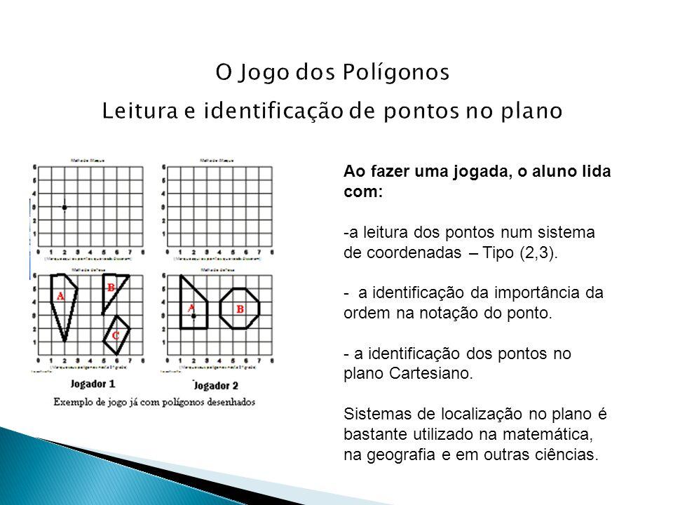 Ao fazer uma jogada, o aluno lida com: -a leitura dos pontos num sistema de coordenadas – Tipo (2,3). - a identificação da importância da ordem na not