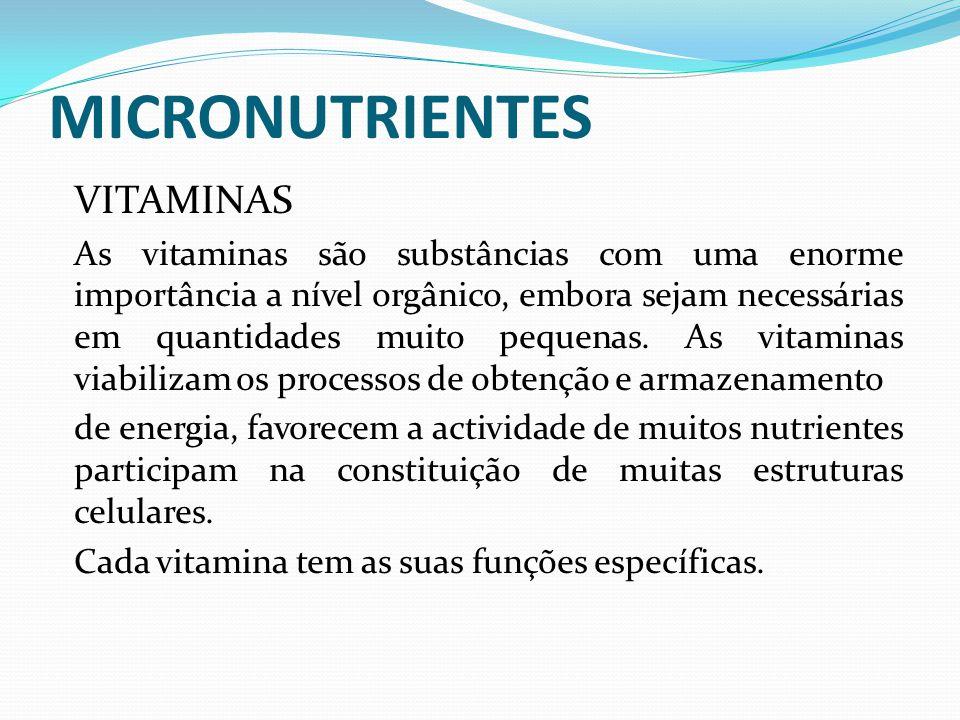 MICRONUTRIENTES VITAMINAS As vitaminas são substâncias com uma enorme importância a nível orgânico, embora sejam necessárias em quantidades muito pequ