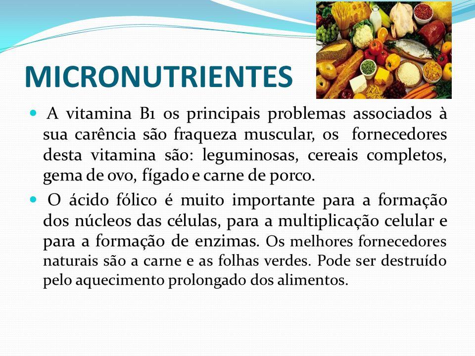 MICRONUTRIENTES  A vitamina B1 os principais problemas associados à sua carência são fraqueza muscular, os fornecedores desta vitamina são: leguminos