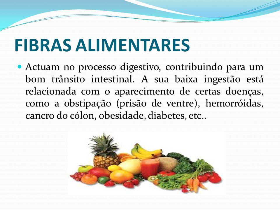 FIBRAS ALIMENTARES  Actuam no processo digestivo, contribuindo para um bom trânsito intestinal. A sua baixa ingestão está relacionada com o aparecime