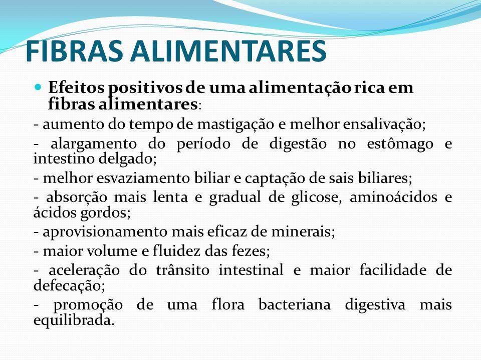 FIBRAS ALIMENTARES  Efeitos positivos de uma alimentação rica em fibras alimentares : - aumento do tempo de mastigação e melhor ensalivação; - alarga