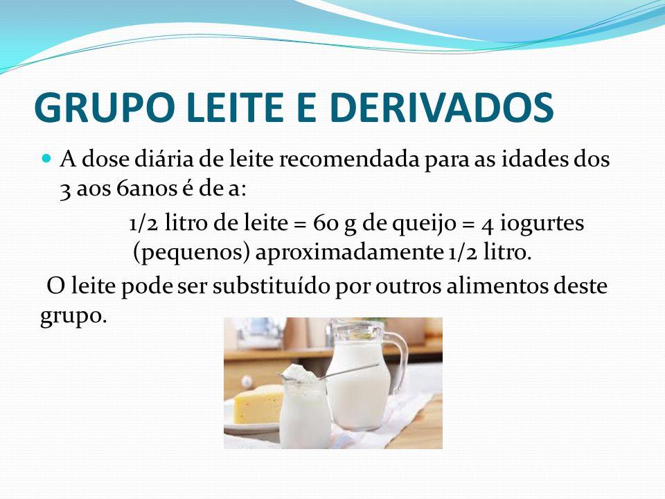 GRUPO LEITE E DERIVADOS  A dose diária de leite recomendada para as idades dos 3 aos 6anos é de a: 1/2 litro de leite = 60 g de queijo = 4 iogurtes (