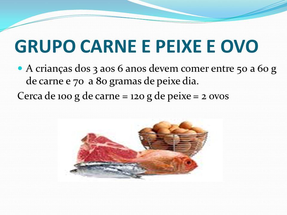 GRUPO CARNE E PEIXE E OVO  A crianças dos 3 aos 6 anos devem comer entre 50 a 60 g de carne e 70 a 80 gramas de peixe dia. Cerca de 100 g de carne =