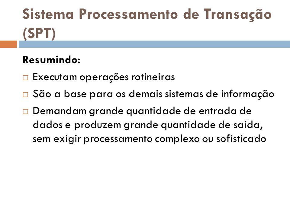 Sistema Processamento de Transação (SPT) Resumindo:  Executam operações rotineiras  São a base para os demais sistemas de informação  Demandam gran