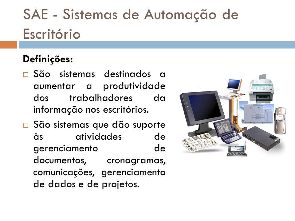 SAE - Sistemas de Automação de Escritório Definições:  São sistemas destinados a aumentar a produtividade dos trabalhadores da informação nos escritó