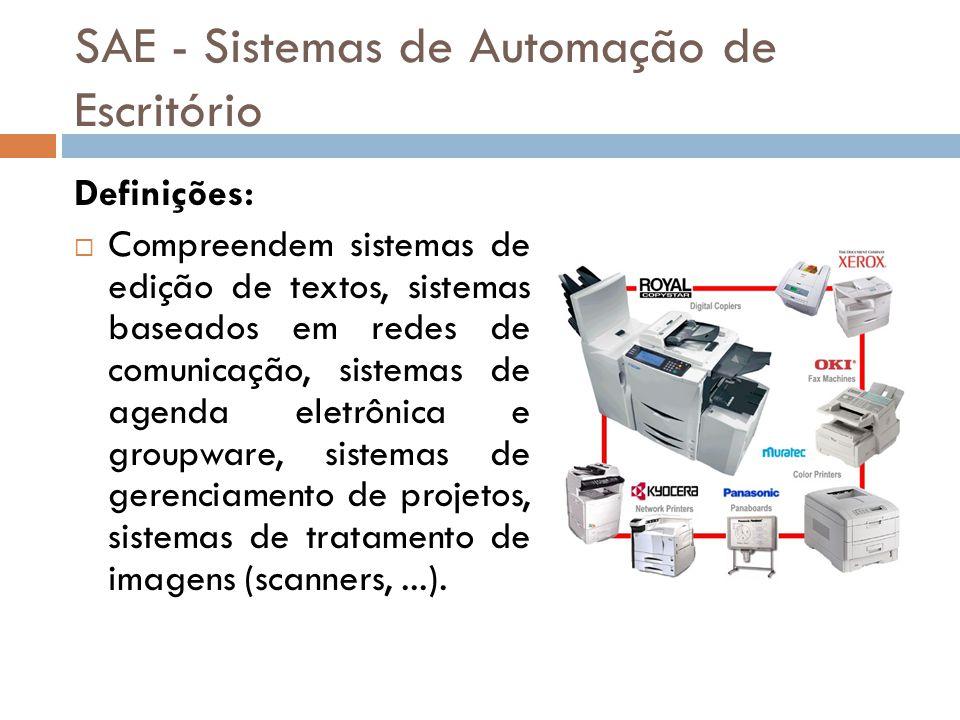SAE - Sistemas de Automação de Escritório Definições:  Compreendem sistemas de edição de textos, sistemas baseados em redes de comunicação, sistemas