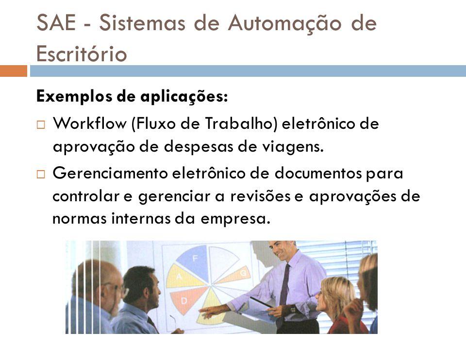 SAE - Sistemas de Automação de Escritório Exemplos de aplicações:  Workflow (Fluxo de Trabalho) eletrônico de aprovação de despesas de viagens.  Ger