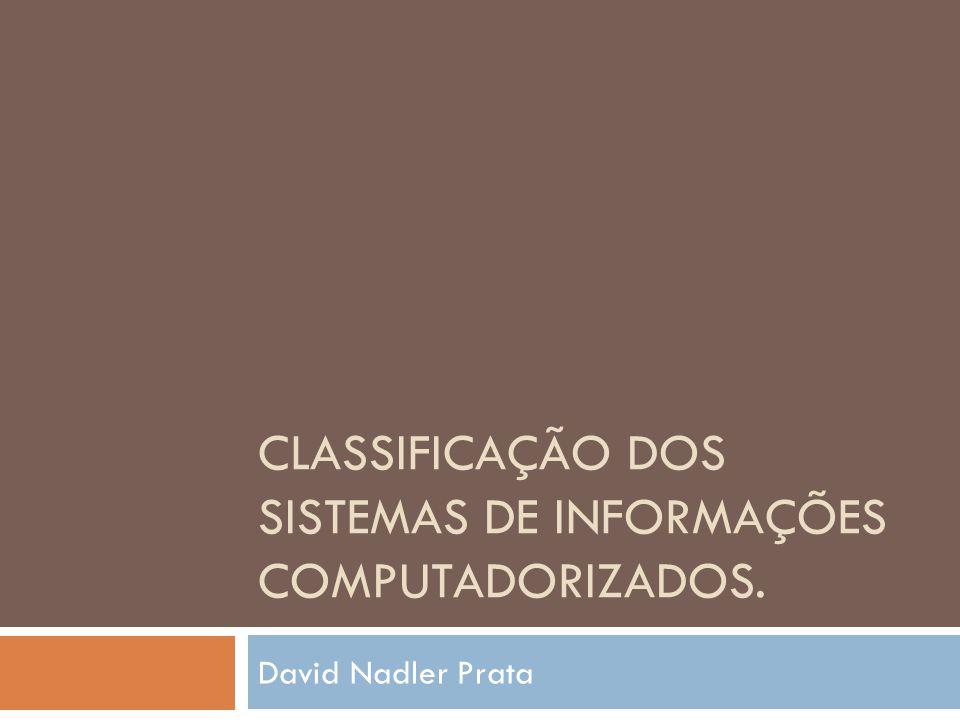 CLASSIFICAÇÃO DOS SISTEMAS DE INFORMAÇÕES COMPUTADORIZADOS. David Nadler Prata