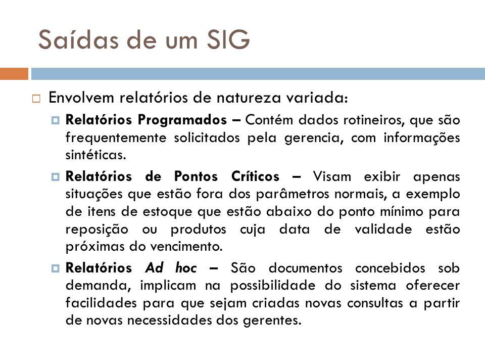 Saídas de um SIG  Envolvem relatórios de natureza variada:  Relatórios Programados – Contém dados rotineiros, que são frequentemente solicitados pel