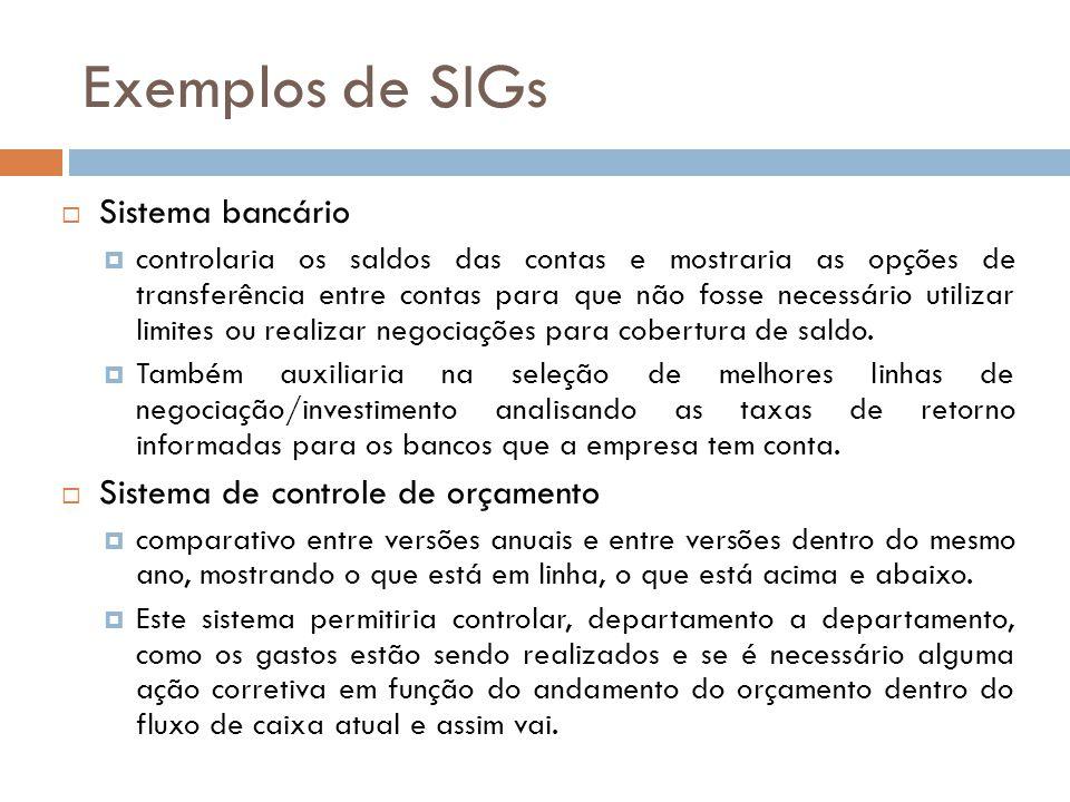 Exemplos de SIGs  Sistema bancário  controlaria os saldos das contas e mostraria as opções de transferência entre contas para que não fosse necessár