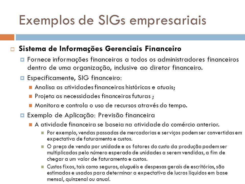 Exemplos de SIGs empresariais  Sistema de Informações Gerenciais Financeiro  Fornece informações financeiras a todos os administradores financeiros