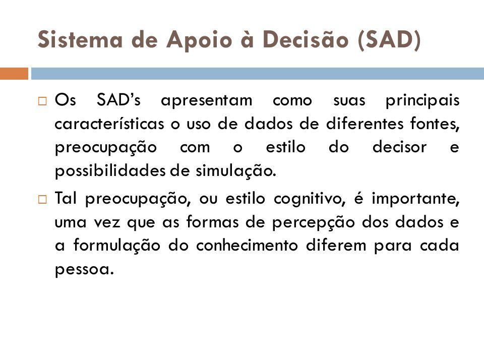 Sistema de Apoio à Decisão (SAD)  Os SAD's apresentam como suas principais características o uso de dados de diferentes fontes, preocupação com o est