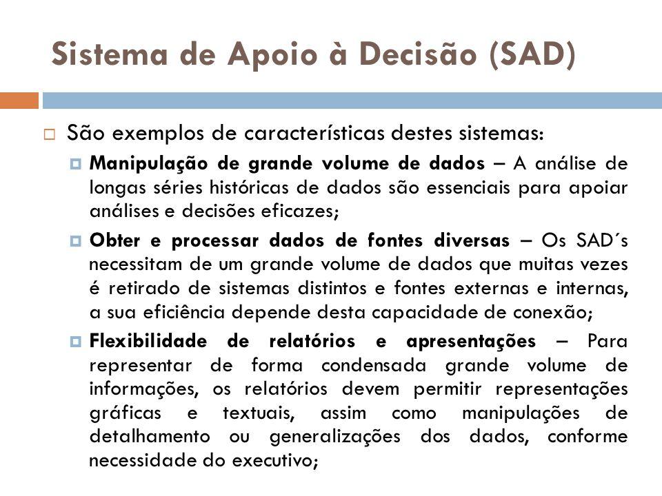 Sistema de Apoio à Decisão (SAD)  São exemplos de características destes sistemas:  Manipulação de grande volume de dados – A análise de longas séri