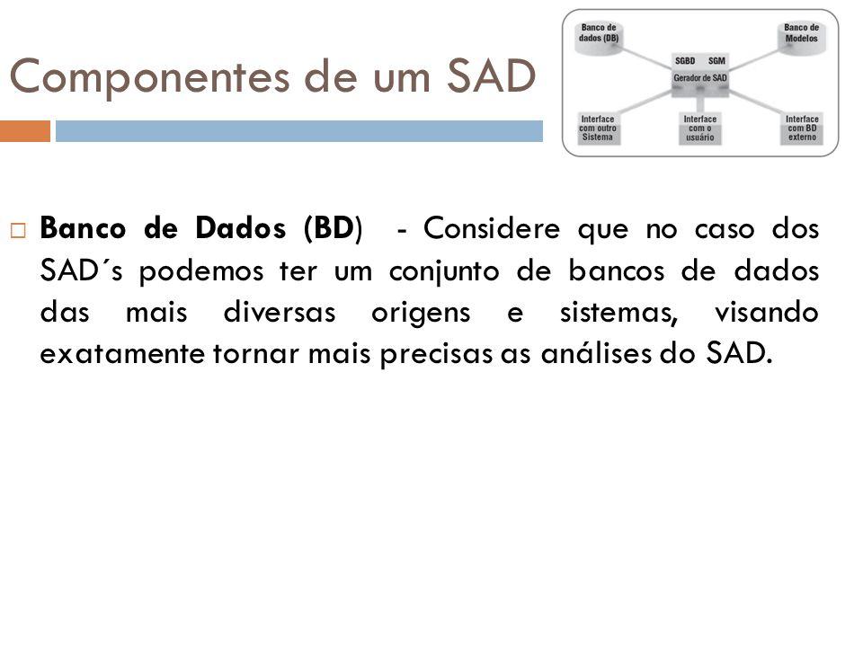  Banco de Dados (BD) - Considere que no caso dos SAD´s podemos ter um conjunto de bancos de dados das mais diversas origens e sistemas, visando exata