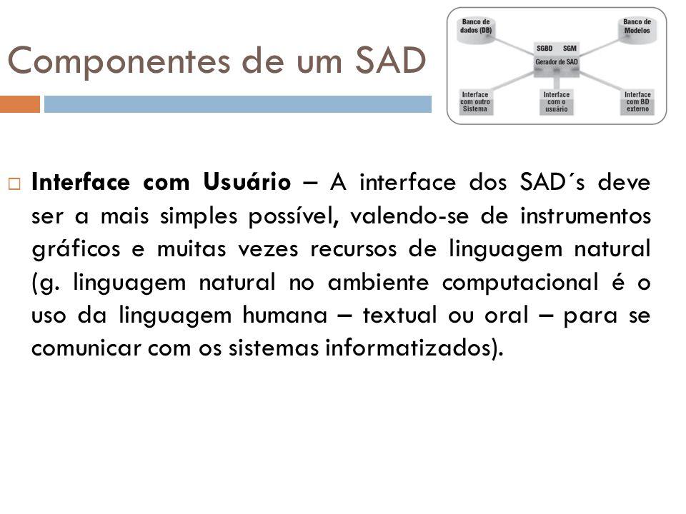 Componentes de um SAD  Interface com Usuário – A interface dos SAD´s deve ser a mais simples possível, valendo-se de instrumentos gráficos e muitas v