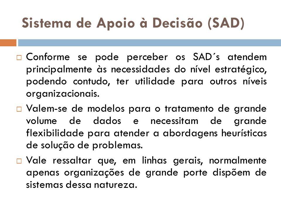 Sistema de Apoio à Decisão (SAD)  Conforme se pode perceber os SAD´s atendem principalmente às necessidades do nível estratégico, podendo contudo, te